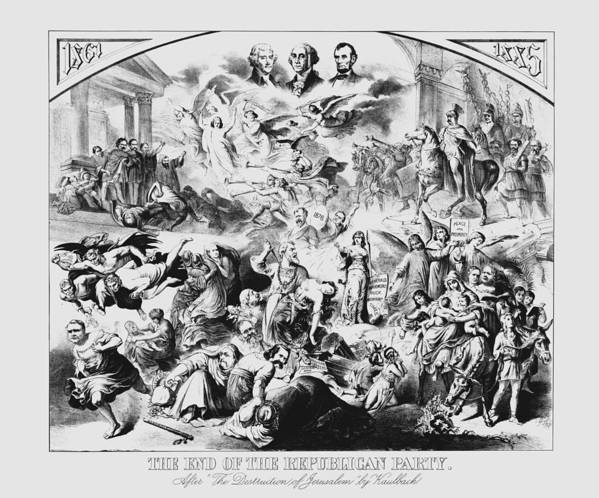 George Washington Print featuring the drawing The End Of The Republican Party by War Is Hell Store