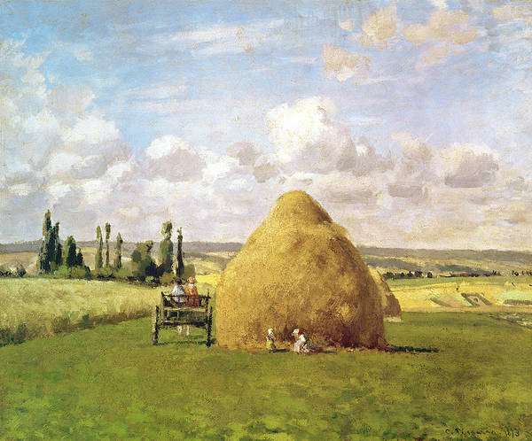 The Print featuring the painting The Haystack by Camille Pissarro