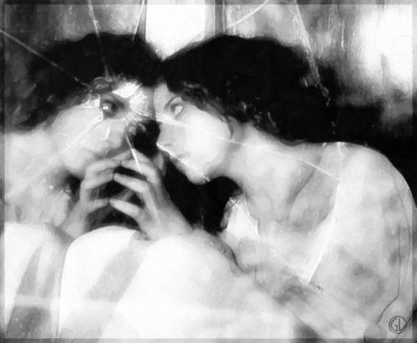 Girl Looking In Mirrow Print featuring the digital art The Mirror Twin by Gun Legler