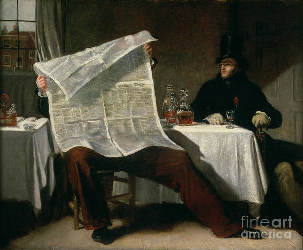 Waiting Print featuring the painting Waiting For The Times by Benjamin Robert Haydon