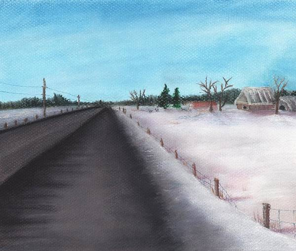 Calm Print featuring the painting Country Road by Anastasiya Malakhova