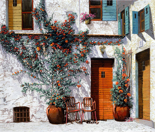 Courtyard Print featuring the painting Il Cortile Bianco by Guido Borelli