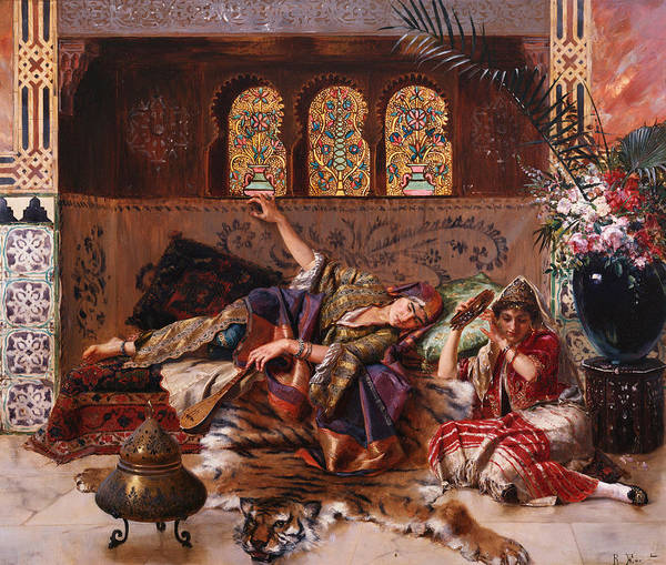 Harem; Orientalist; Female; Concubine; Concubines; Reclining; Women; Exotic; Eastern; Tiger Skin; Tigerskin; Traditional Costume Print featuring the painting In The Harem by Rudolphe Ernst