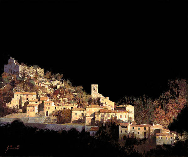 Landscape Print featuring the painting Paesaggio Scuro by Guido Borelli