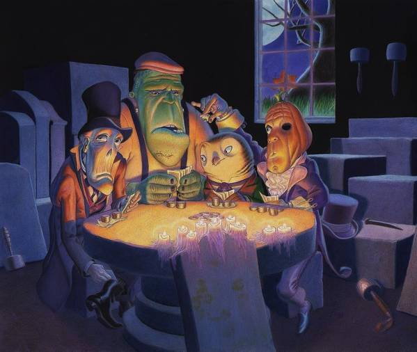 Halloween Print featuring the painting Poker Buddies by Richard Moore