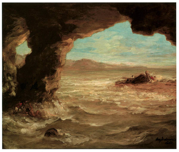 Eugene Delacroix Print featuring the painting Shipwreck On The Coast by Eugene Delacroix