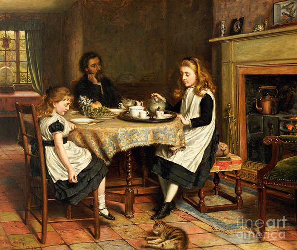 Interior; Victorian; Family; Father; Daughter; Daughters; Girls; Female; Children; Playing Mother; Tea; Pouring; Motherless; Widowed; Widower; Mourning; Seated; Table Print featuring the painting There Is No Fireside... by George Goodwin Kilburne