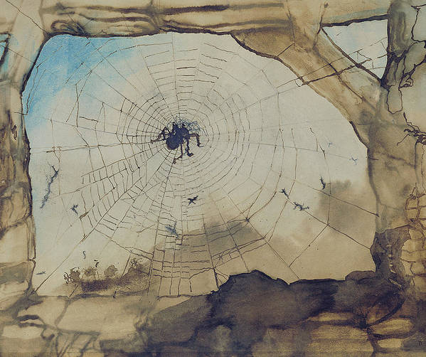 Spider Print featuring the painting Vianden Through A Spider's Web by Victor Hugo