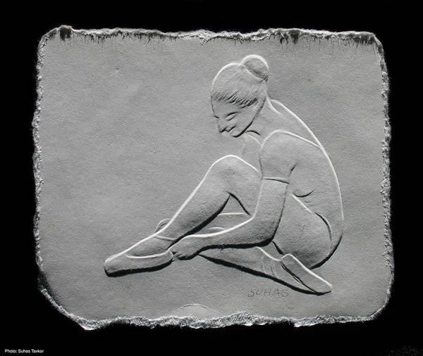 Ballet Dancers Print featuring the relief Ballet Dancer by Suhas Tavkar
