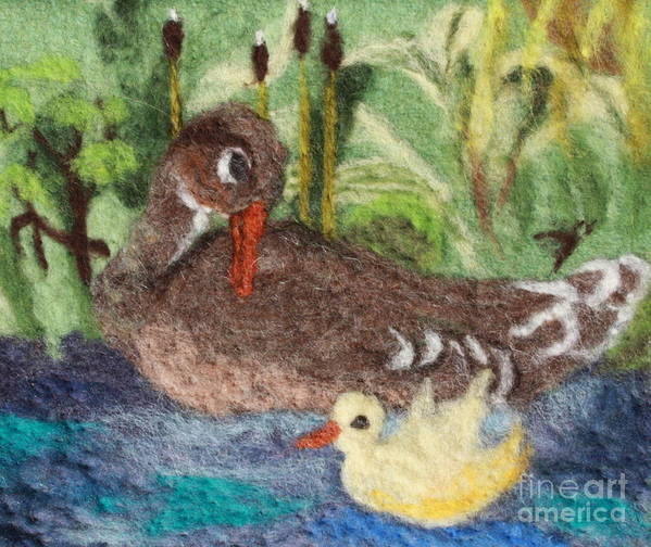 Duck Print featuring the tapestry - textile Duck And Duckling by Nicole Besack