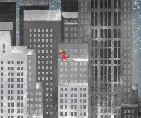 Horizontal Print featuring the digital art Santa Clause Running On A Skyscraper by Jutta Kuss
