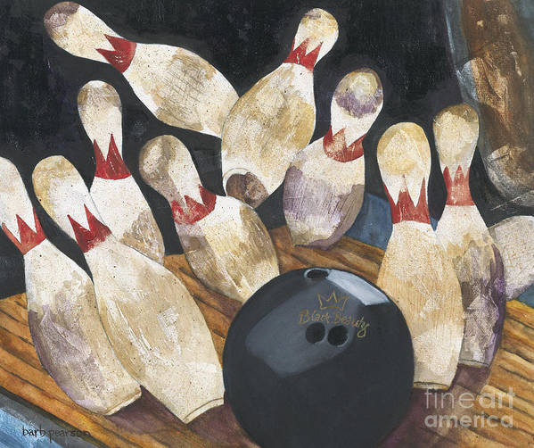 Bowling Print featuring the painting Black Beauty by Barb Pearson