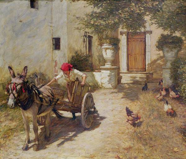 Farm Print featuring the painting Farm Yard Scene by Henry Herbert La Thangue