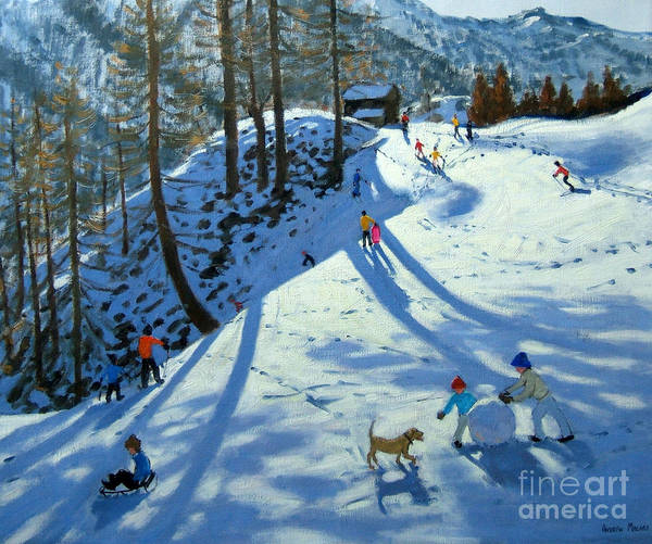 Sledge Print featuring the painting Large Snowball Zermatt by Andrew Macara
