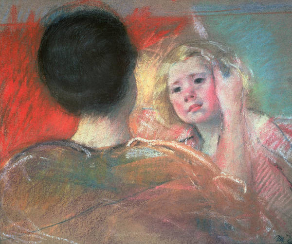 Mother Print featuring the painting Mother Combing Sara's Hair by Mary Stevenson Cassatt