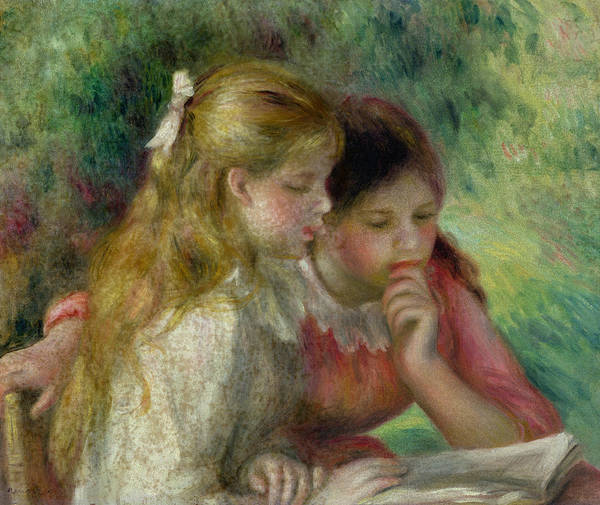The Print featuring the painting The Reading by Pierre Auguste Renoir