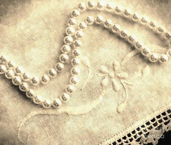 Vintage Lace And Pearls Print featuring the photograph Vintage Lace And Pearls by Barbara Griffin