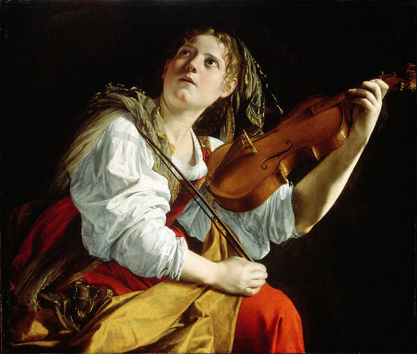 Young Print featuring the painting Young Woman With A Violin by Orazio Gentileschi