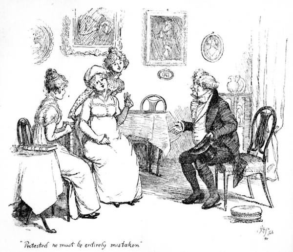 Protested He Must Be Entirely Mistaken; Illustration; Pride And Prejudice Jane Austen; Sir William Lucas; Mrs; Bennet; Charlotte Print featuring the drawing Scene From Pride And Prejudice By Jane Austen by Hugh Thomson