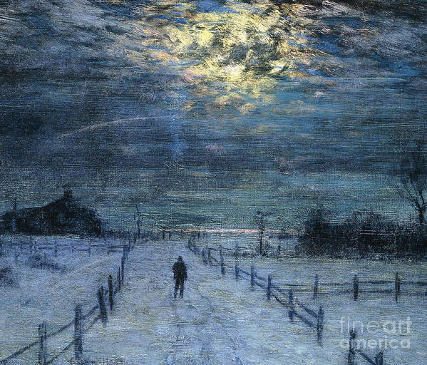 Adult Print featuring the painting A Wintry Walk by Lowell Birge Harrison