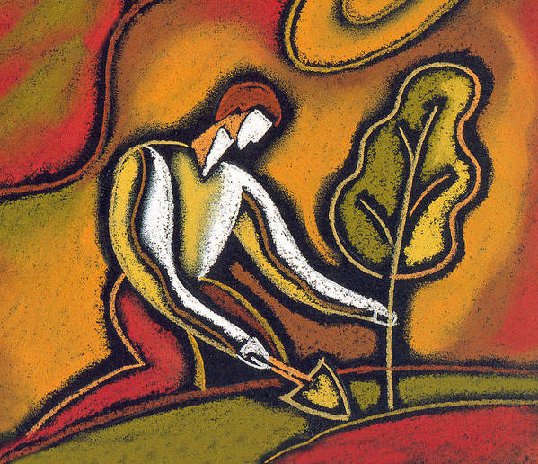 Arbor Cultivate Cultivating Dirt Earth Future Garden Gardener Gardening Grow Growing Growth Invest Investing Investment Land Man Nurture Nurturing Outdoors Plant Planting Tree Trees World Decorative Art Abstract Modern Painting Print featuring the painting Future by Leon Zernitsky