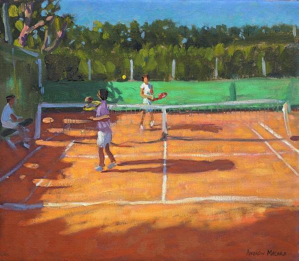 Tennis Print featuring the painting Tennis Practice by Andrew Macara