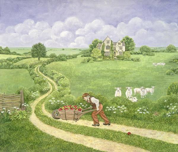 The Apple-barrow: Joseph Poorgrass Wheeling Residence Print featuring the painting The Apple Barrow by Ditz