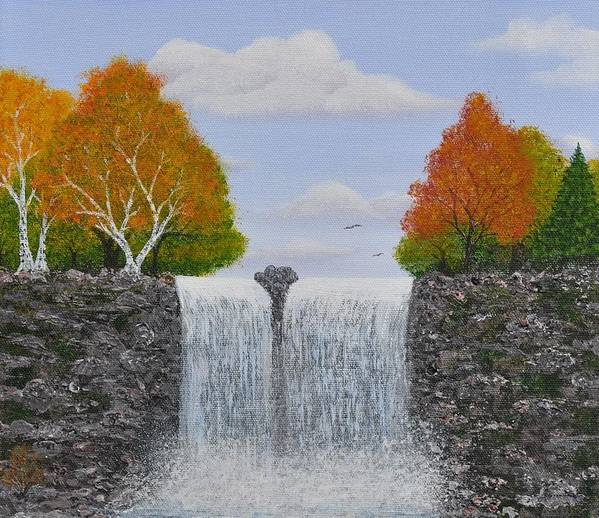 Autumn Landscape Print featuring the painting Autumn Waterfall by Georgeta Blanaru