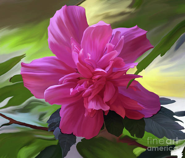 Hibiscus Painting Print featuring the painting Althea Hibiscus I by Patricia Griffin Brett