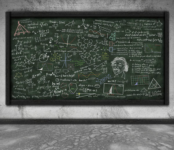 Algebra Print featuring the photograph Maths Formula On Chalkboard by Setsiri Silapasuwanchai
