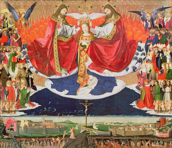 The Print featuring the painting The Coronation Of The Virgin by Enguerrand Quarton