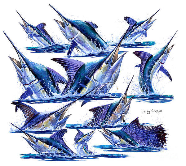 Billfish Print featuring the painting Bill Heads by Carey Chen