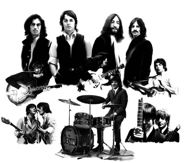 The Beatles Print featuring the painting Epic The Beatles by Iconic Images Art Gallery David Pucciarelli