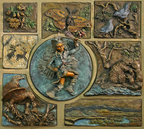 Bronze Print featuring the relief Snowy Range Life - Small Panel by Dawn Senior-Trask