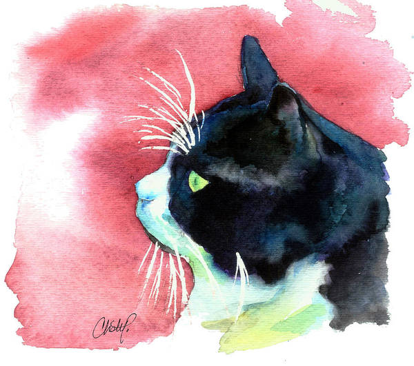 Cat Print featuring the painting Tuxedo Cat Profile by Christy Freeman