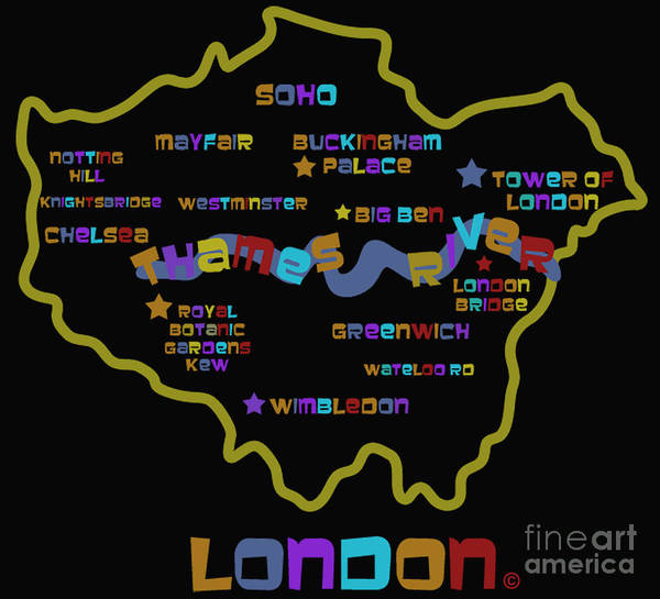 London England Map Print featuring the photograph London by Dan Hilsenrath