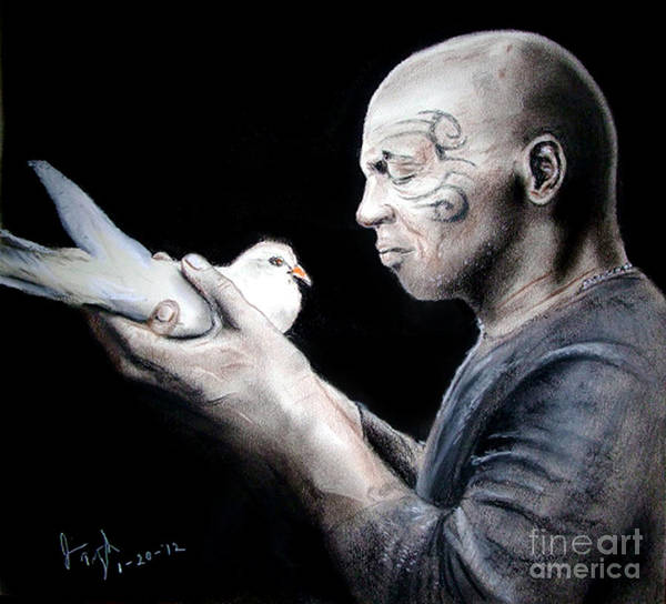 Drawing Print featuring the drawing Mike Tyson And Pigeon by Jim Fitzpatrick