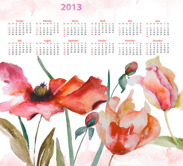 Art Print featuring the painting Template For Calendar 2013 by Regina Jershova