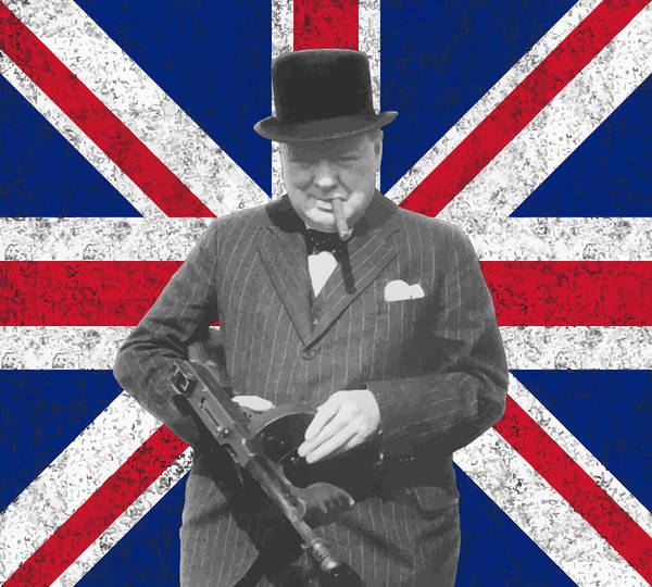 Winston Churchill Print featuring the painting Winston Churchill And His Flag by War Is Hell Store