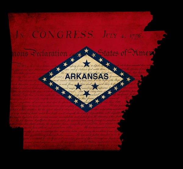 Usa Print featuring the photograph Usa American Arkansas State Map Outline With Grunge Effect Flag by Matthew Gibson