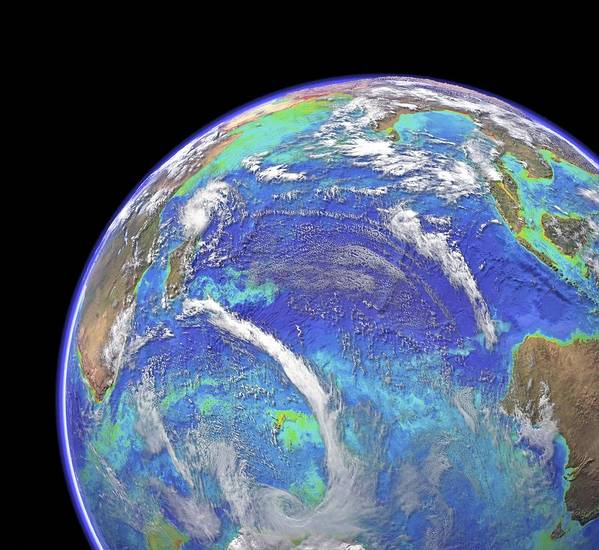 Indian Ocean Print featuring the photograph Indian Ocean, Chlorophyll And Bathymetry by Science Photo Library