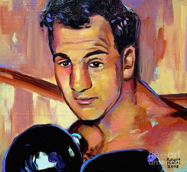 Rocky Marciano Print featuring the painting Rocky Marciano by Robert Phelps