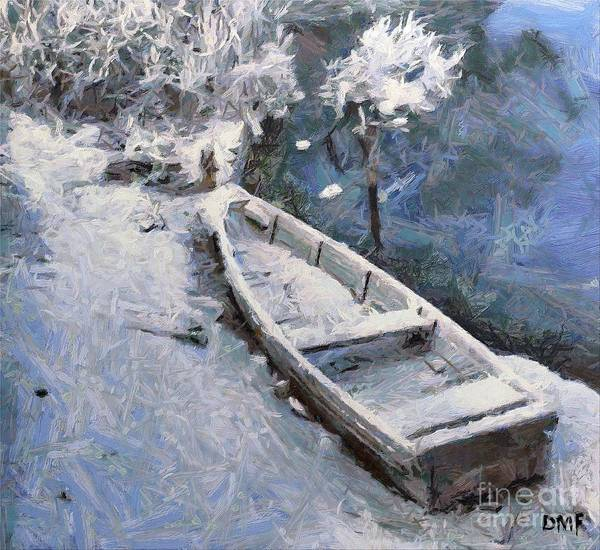 Boat Print featuring the painting Waiting For A Spring by Dragica Micki Fortuna
