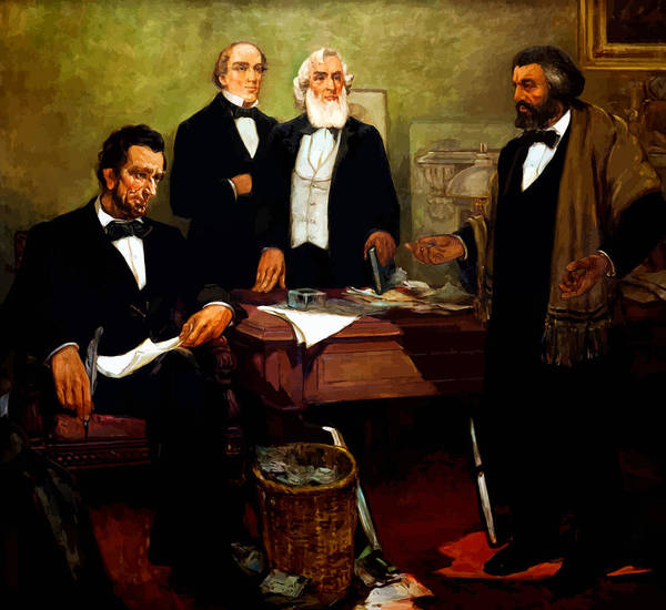 Frederick Douglass Print featuring the painting Frederick Douglass Appealing To President Lincoln by War Is Hell Store