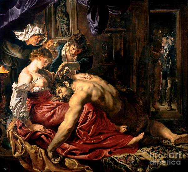 Samson Print featuring the painting Samson And Delilah by Peter Paul Rubens