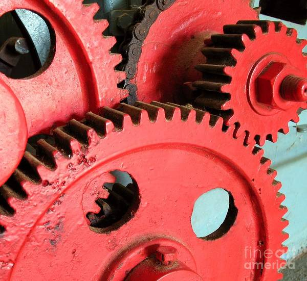 Gears Print featuring the photograph Vintage Gears by Yali Shi