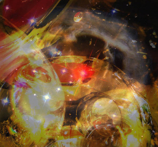 Hubble Digital Photograph Art Glass Reflections Non Representational Abstract Art Reds Yellows Bright Space Shine Judy Paleologos Print Print featuring the photograph Echoes Of The Red Star by Judy Paleologos