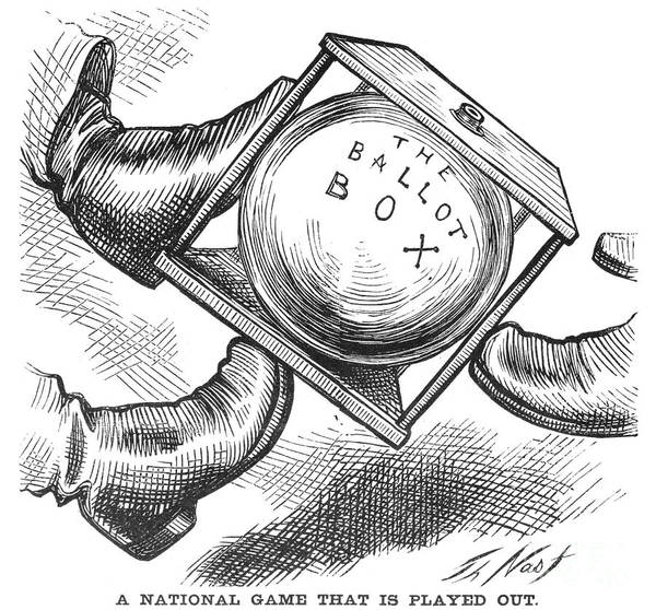 1876 Print featuring the photograph Election Cartoon, 1876 by Granger