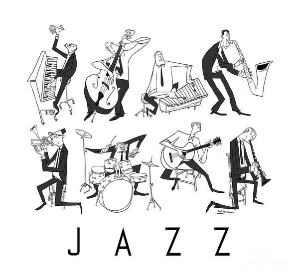 Piano Print featuring the digital art Jazz by Sean Hagan