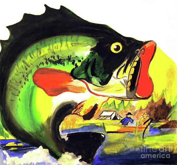 <a Href=https://twitter.com/lindalsimon Class=twitter-follow-button Data-button=grey Data-text-color=#ffffff Data-link-color=#00aeff>follow @lindalsimon</a> Fish Print featuring the painting Gone Fishing by Linda Simon